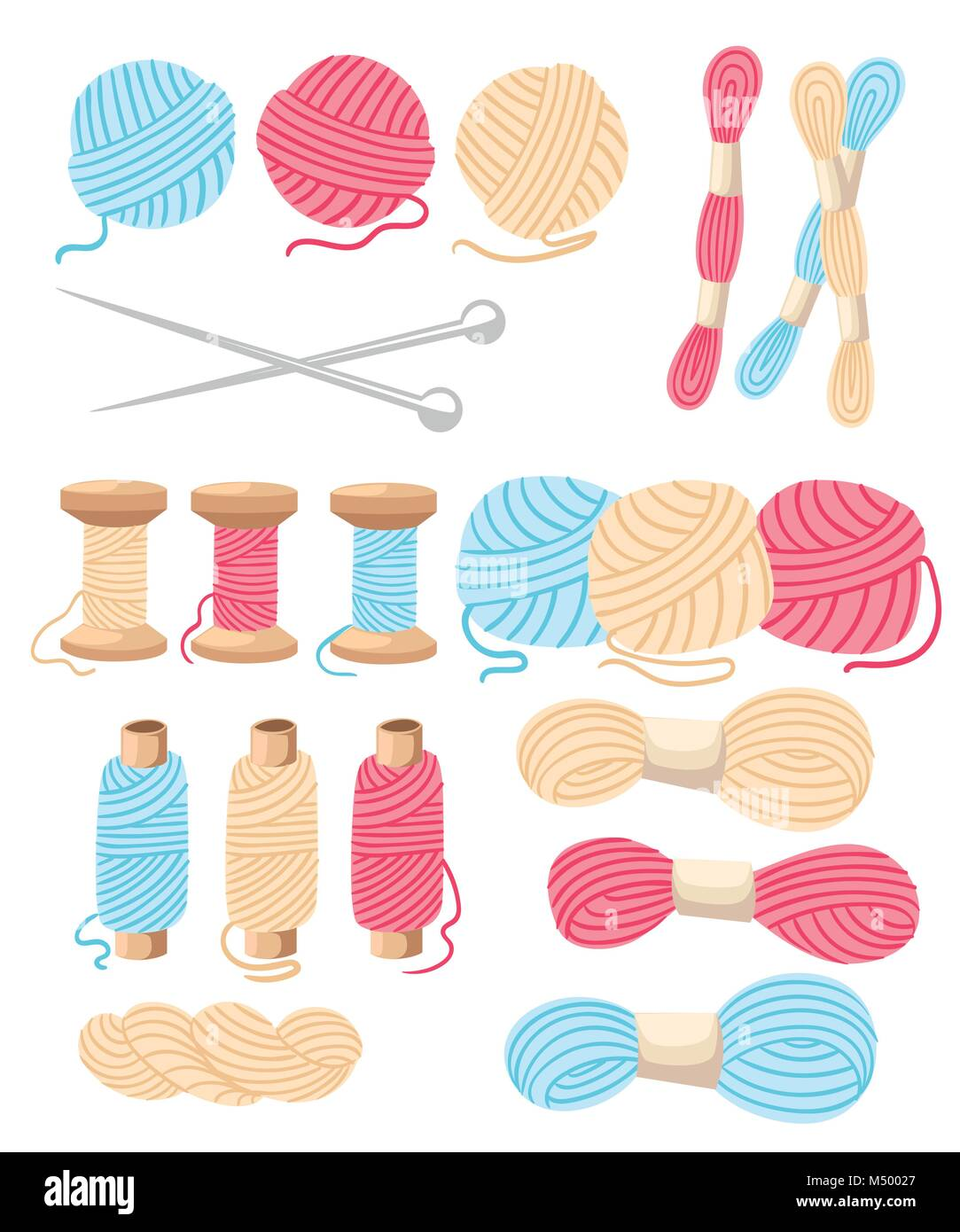 Threads for sewing for cross stitching set tools for sewing knitting needles vector wool knitwear yarn thread knitting - Stock Vector