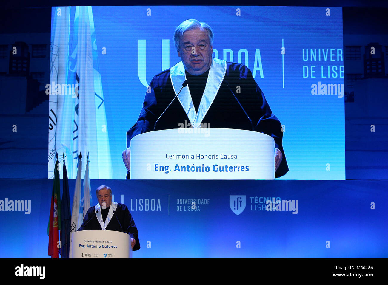 Lisbon, Portugal. 19th Feb, 2018. United Nations Secretary General Antonio Guterres delivers a speech during a ceremony - Stock Image