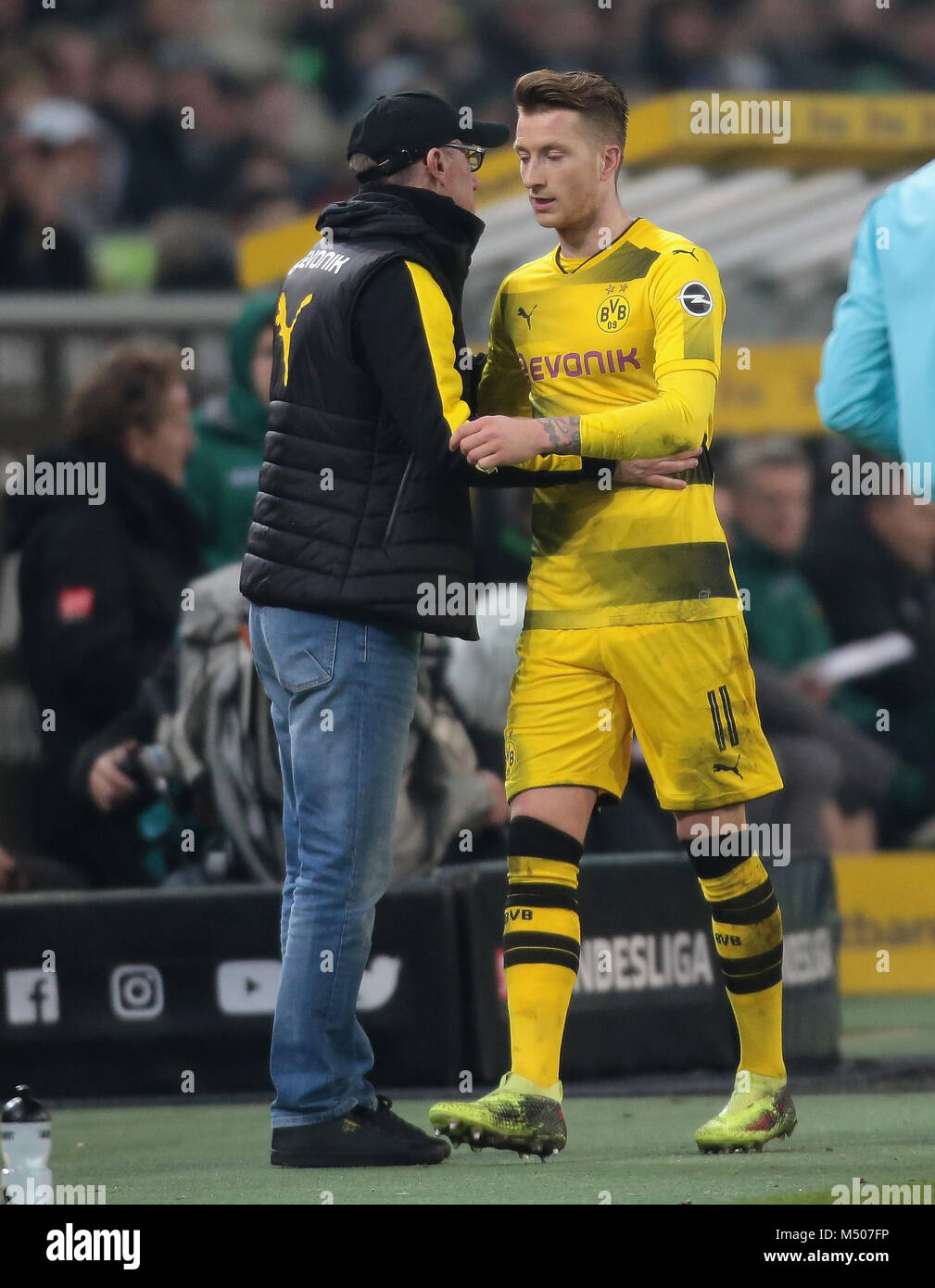 Moenchengladbach, Germany, Februaray 18 2018, Bundesliga matchday 23, Borussia Moenchengladbach vs Borussia Dortmund: - Stock Image
