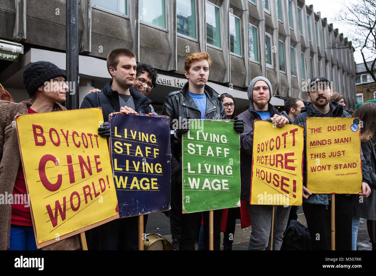 London, UK. 19th February, 2018. Cinema workers belonging to the BECTU trade union protest outside the head office - Stock Image