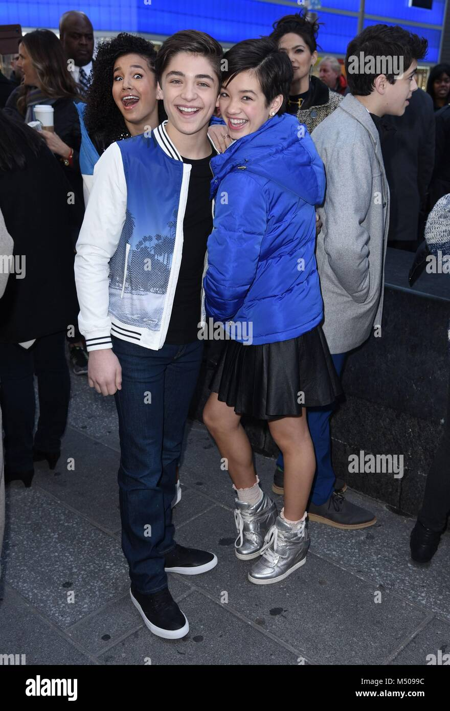 New York, NY, USA. 19th Feb, 2018. Asher Angel, Peyton Elizabeth Lee, seen at Good Morning America to promote ANDI - Stock Image