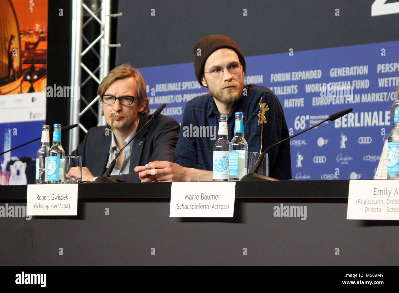 """Berlin, Germany. 19th February, 2018. Press conference at the Grand Hyatt Hotel in Berlin/Germany for """"3 Tage in - Stock Image"""