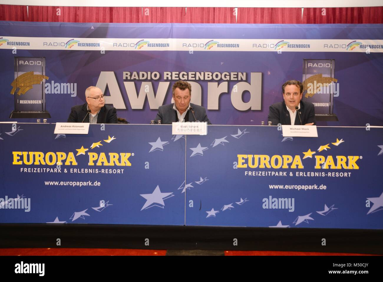 "Rust, Germany, 19th February, 2018, press conference ""Radio Regenbogen AWARD 2018"" Credit: mediensegel/Alamy Live Stock Photo"