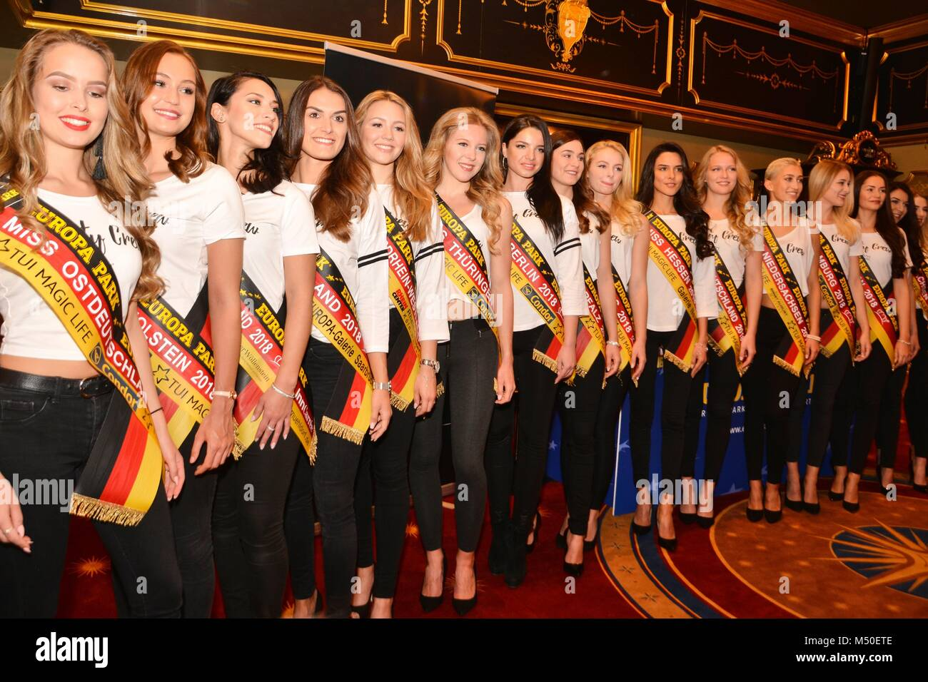 "Rust, Germany, 19th February, 2018, press conference ""Miss Germany - Das Finale 2018"" Credit: mediensegel/Alamy Stock Photo"