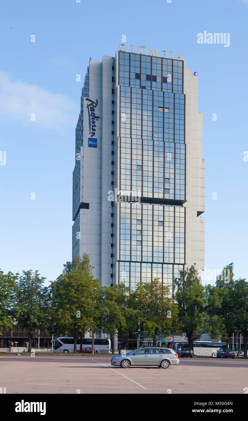 Radisson BLU Hotel Olympia in Tallinn, street Liivalaia. The hotel is built for the 1980 Olympic Games Stock Photo