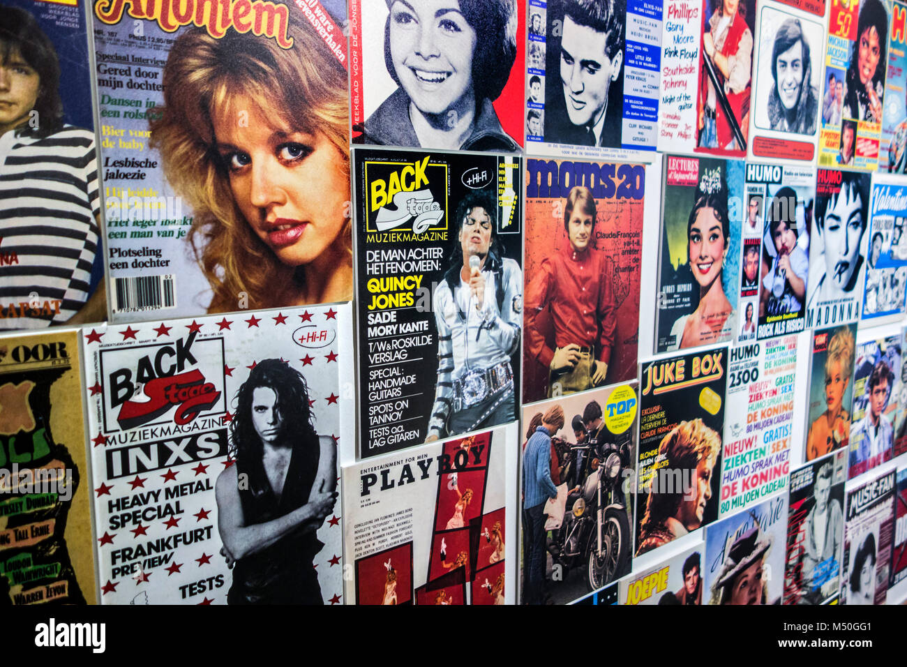 Collection of vintage covers of international music magazines / supermarket tabloids Stock Photo