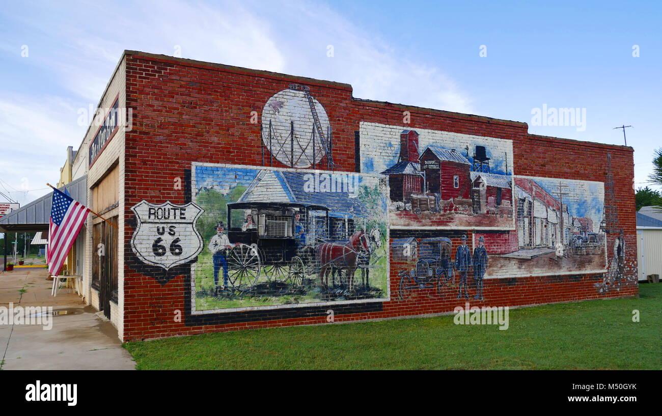 Route 66,Davenport,Oklahoma - Stock Image