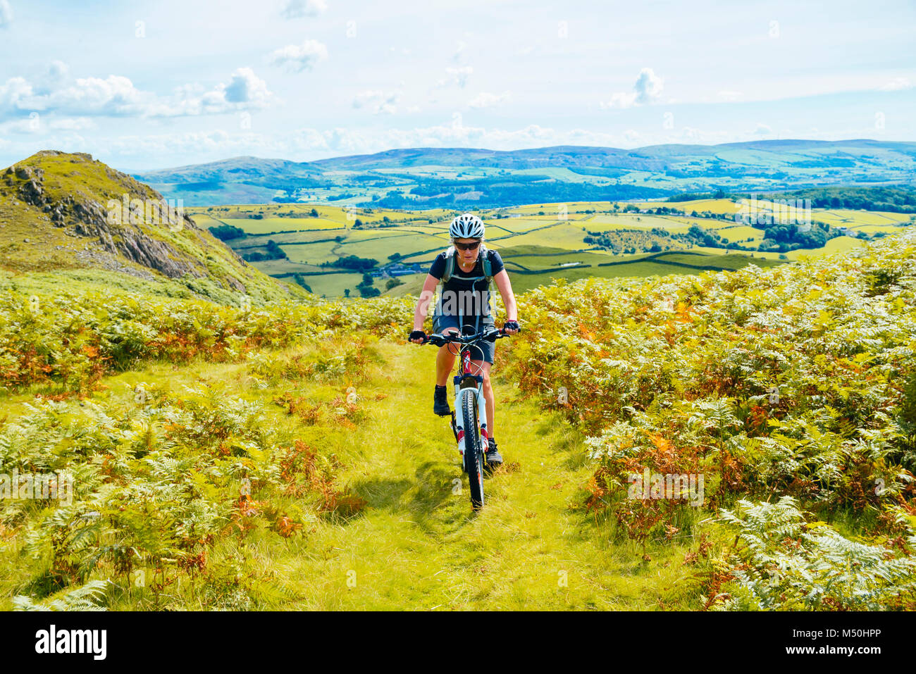 Female mountain biker on trail skirting Great Stickle above the Duddon Valley in the English Lake District - Stock Image