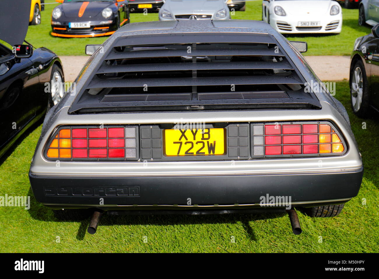 A De Lorean car on display at Lotherton Hall near Leeds as part of the Super Cars In The Park annual event - Stock Image