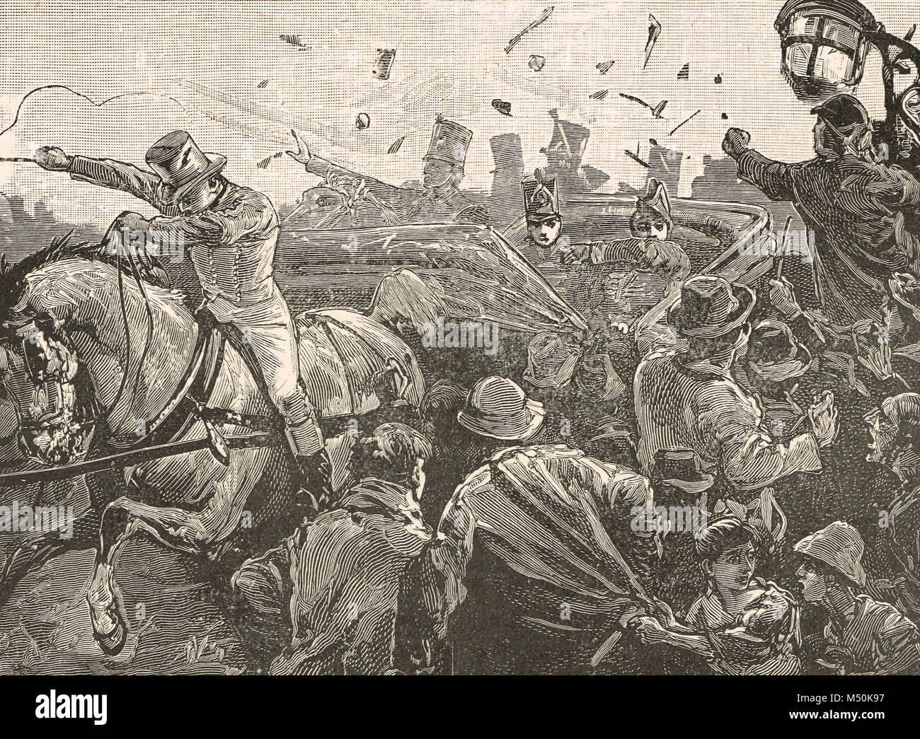 Riots in Montreal, Canada, Lord Elgin, Governor General of Canada, stoned by a mob, 25 April 1849 - Stock Image