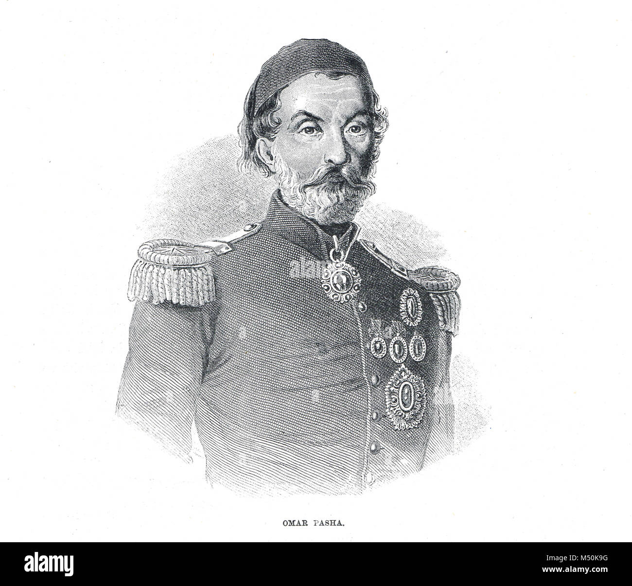Omar Pasha, commander in the Crimean War, 1854, Ottoman field marshal and governor who won outstanding victories - Stock Image