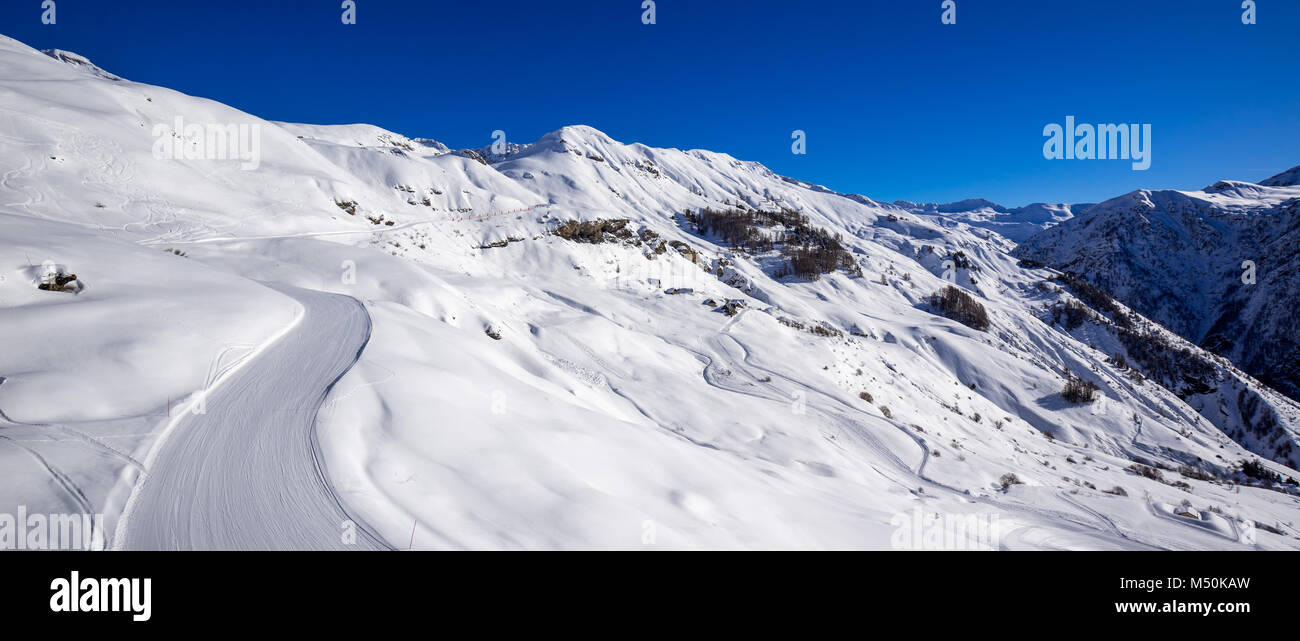 Panoramic view of the slopes of Orcieres-Merlette ski resort in Winter. Hautes-Alpes, Ecrins National Park, Champsaur, - Stock Image