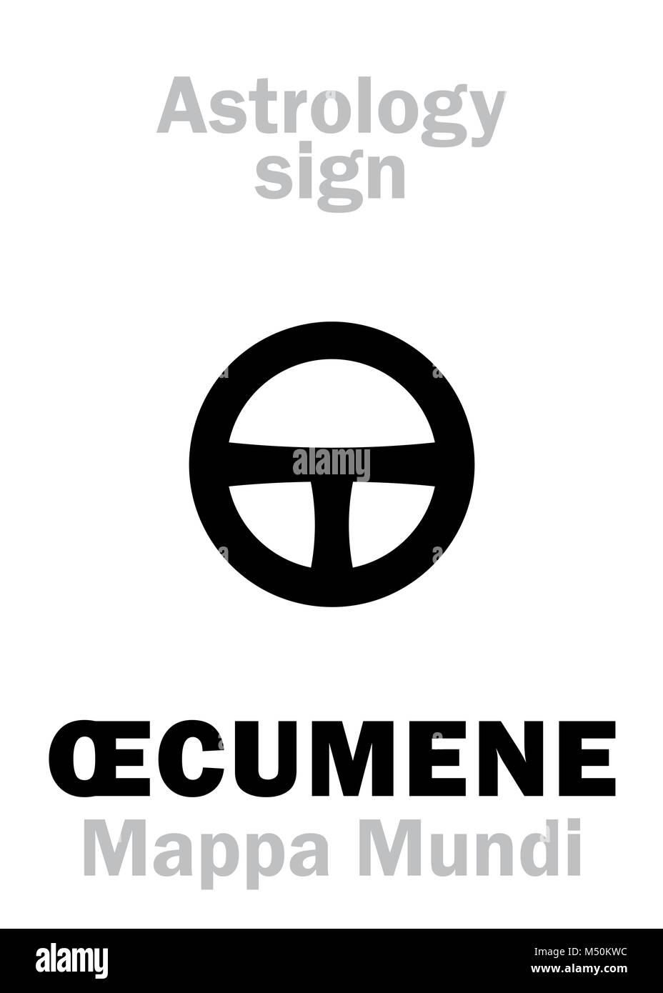 Astrology: ŒCUMENE (Mappa Mundi) Stock Photo