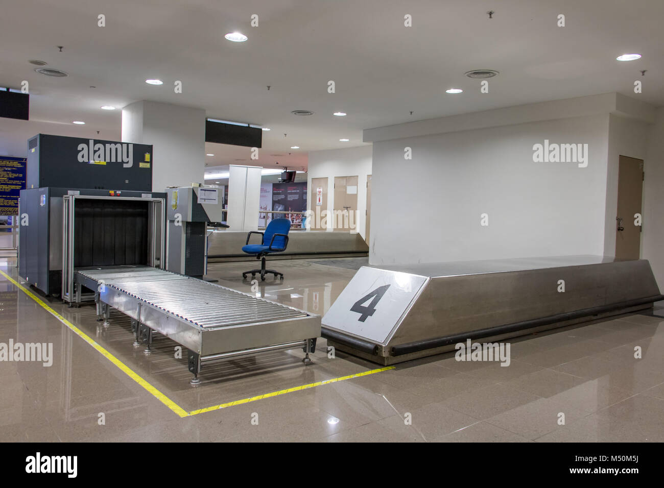 Airport security metal detector scan. Empty scanner control luggage at the terminal. Gate-ray detection with a belt - Stock Image