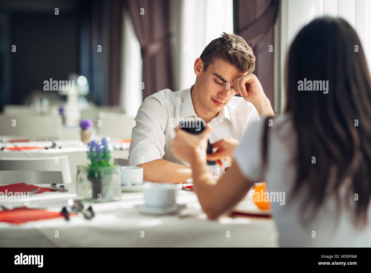 Disappointed stressed man getting fired.Attacked and innocent man being accused.Loosing job.Relationship problems,divorce,break - Stock Image