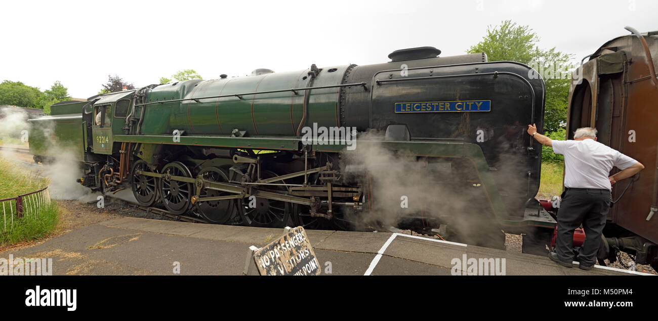 The Steam Engine 'Leicester City' on the Great Central Railway at Leicester North Station - Stock Image