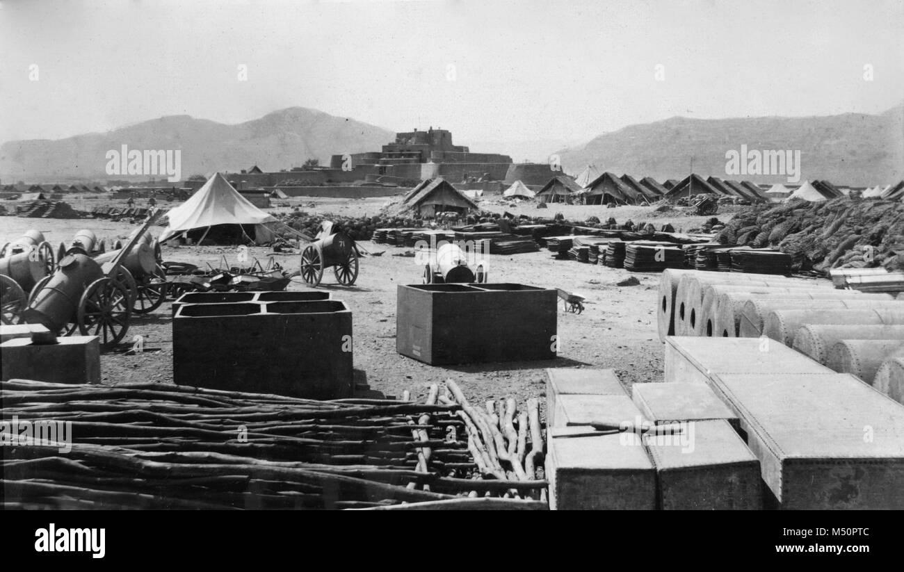 British Army Camp  at Jamrud Pakistan, circa 1919 during the third Afghan War - Stock Image