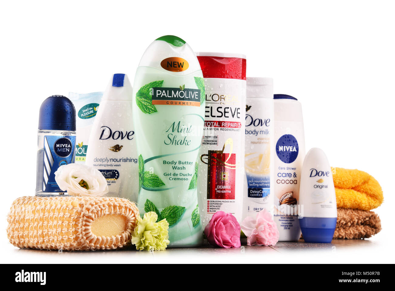 Composition with assorted global body care and beauty brands - Stock Image