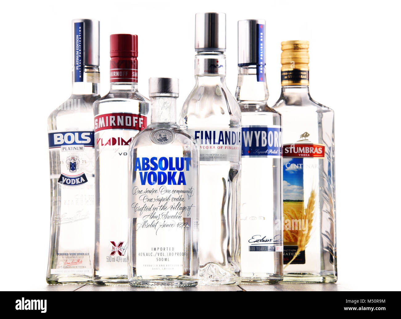 Bottles Of Assorted Global Vodka Brands Stock Photo 175195264 Alamy