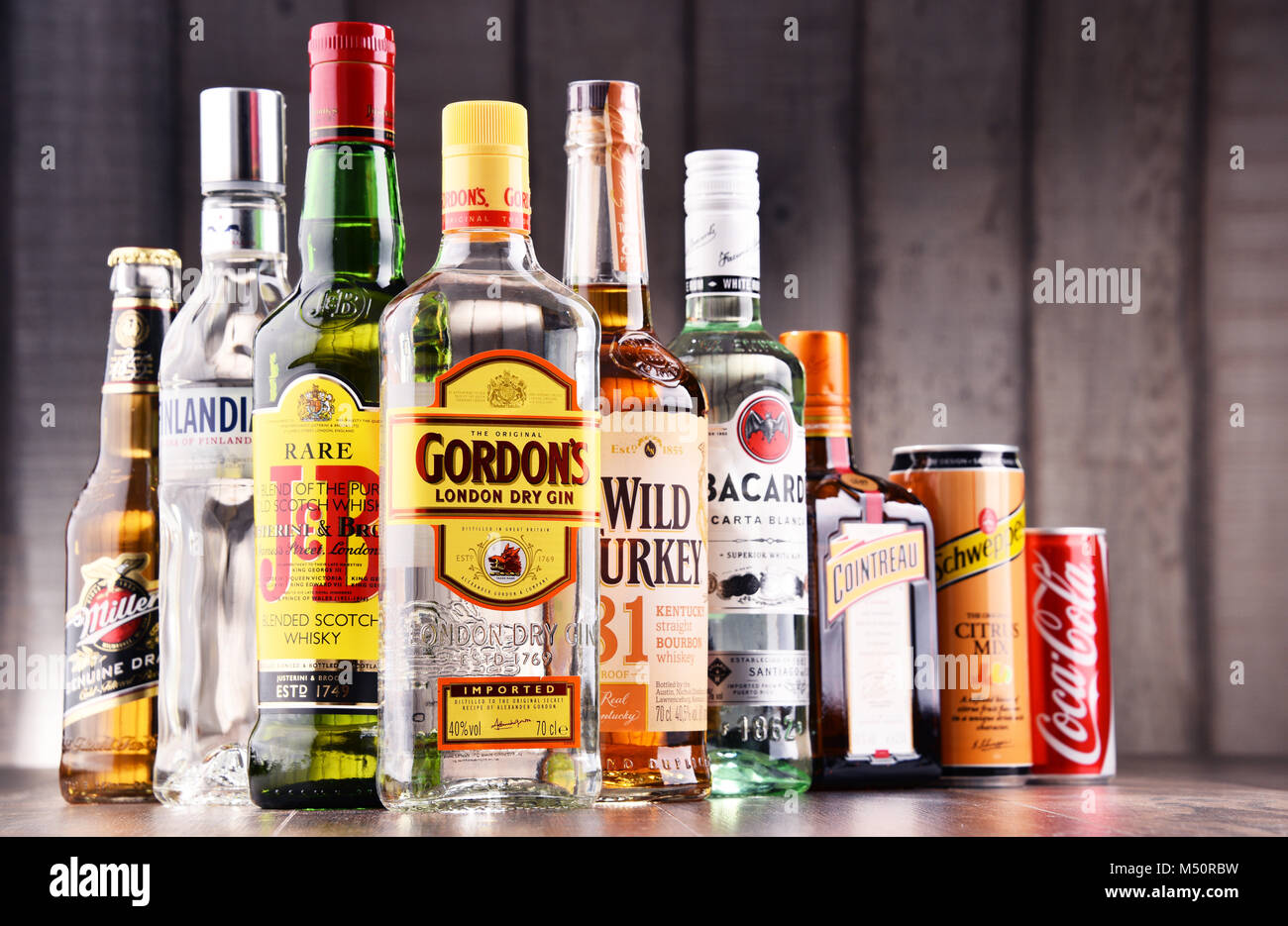 Assorted Alamy 175195325 - Stock Global Of Bottles Liquor Hard Brands Photo