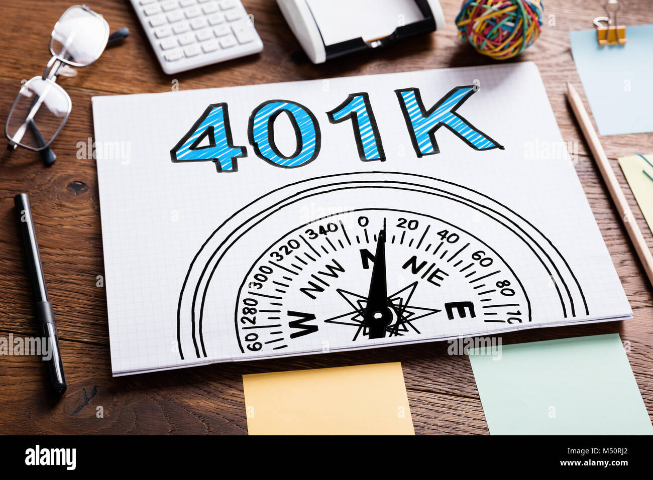 401k Pension Plan In Notebook On The Table - Stock Image