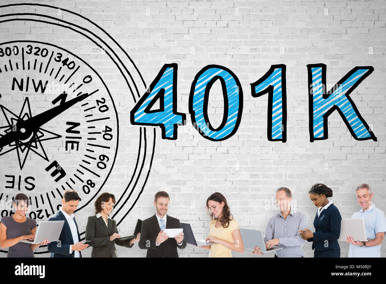 Photo Of People Standing In Front Of 401k Pension Plan - Stock Image