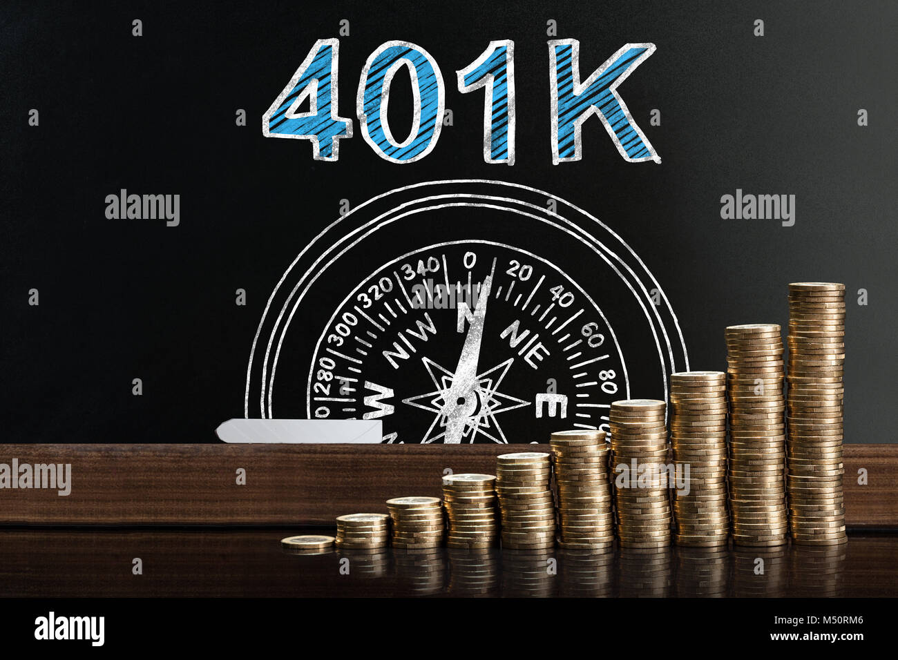 401k Pension Plan On Blackboard Behind Stacked Coins - Stock Image