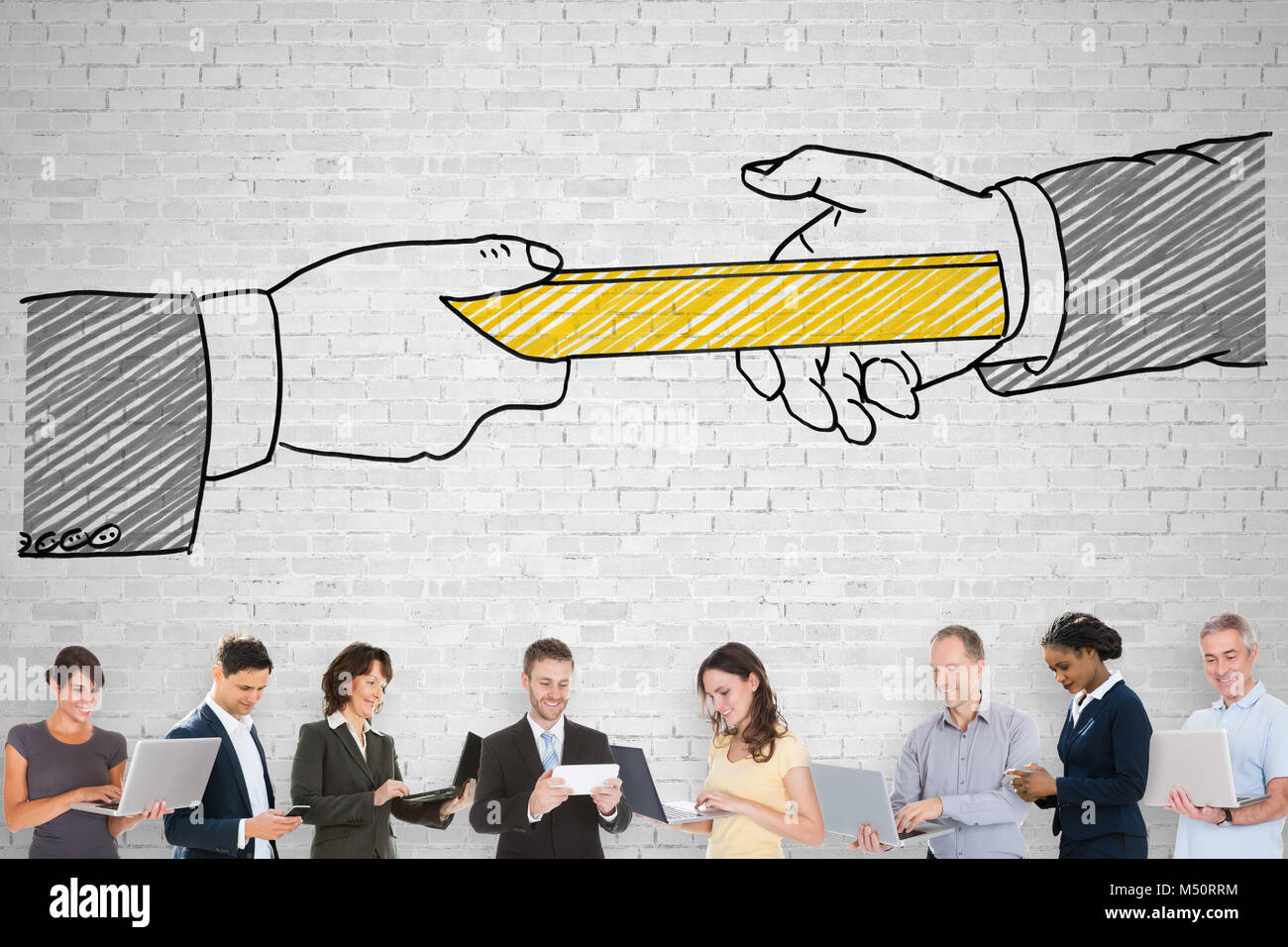 Group Of People Standing On Front Of Passing Relay Baton Concept Image - Stock Image