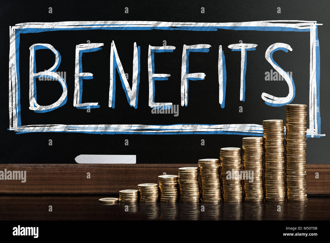 Social Security Benefits Drawn On Chalkboard Behind Coin Stacks - Stock Image