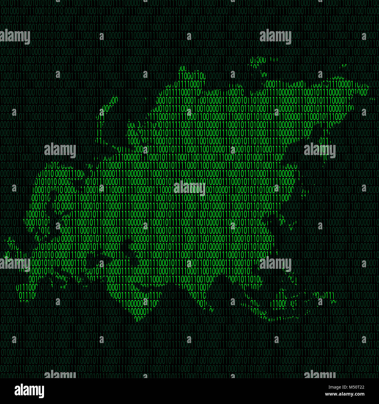 Silhouette of Eurasia from binary digits - Stock Image