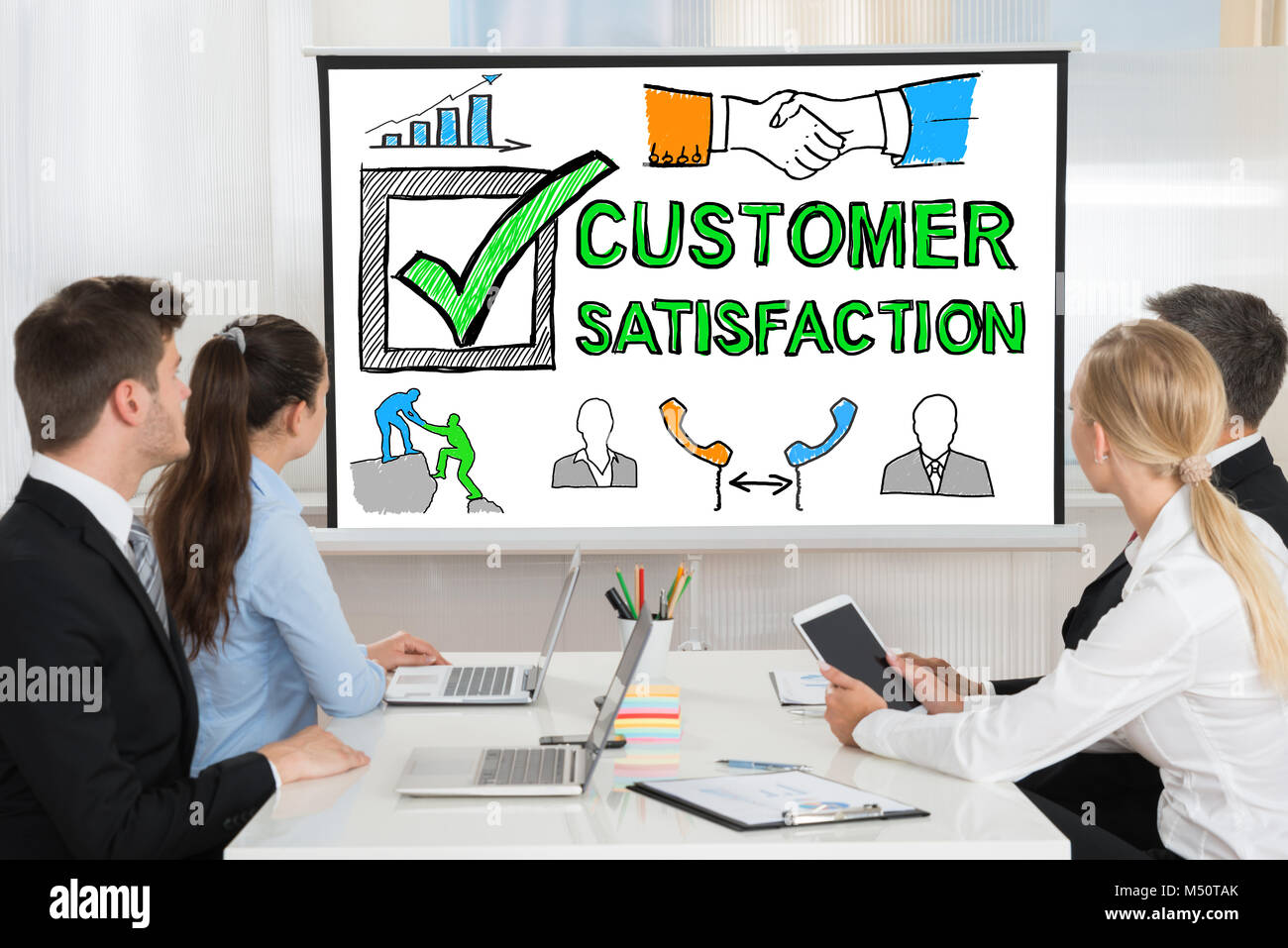 People At Customer Satisfaction Survey Concept Presentation - Stock Image
