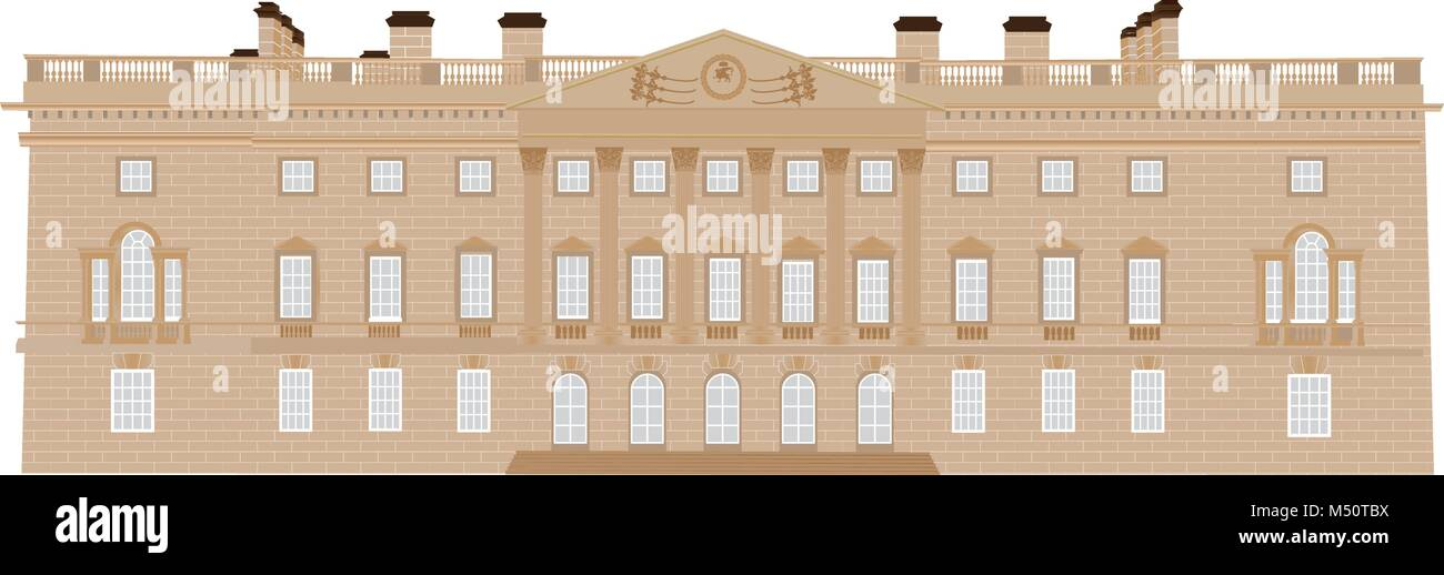 An Eighteenth Century Stately Home with Corinthian Style Pillars with Ornate Capitals,Balustrades,Pediment with - Stock Vector