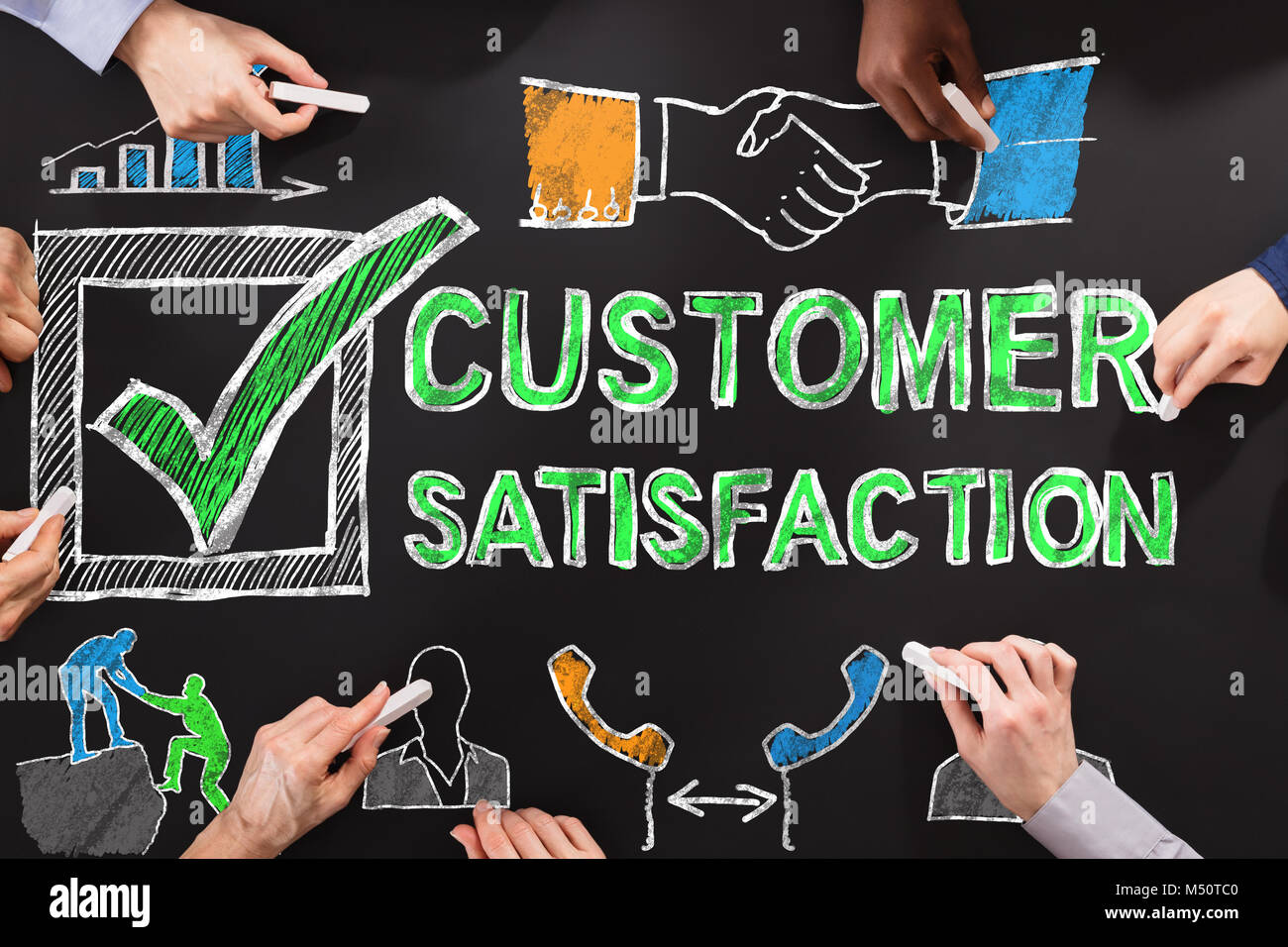 People Drawing Customer Satisfaction Survey Concept On Blackboard - Stock Image