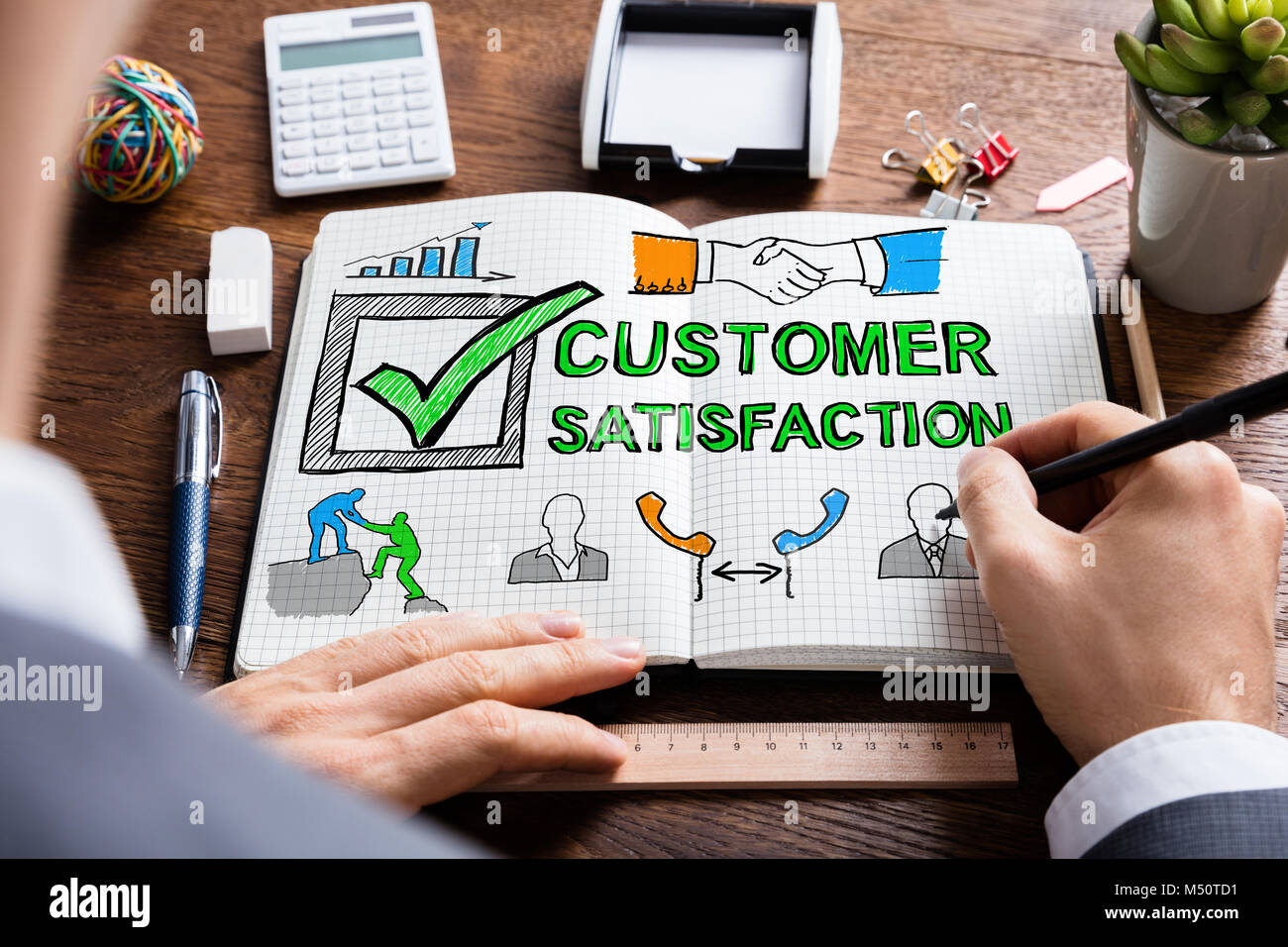 Man Drawing Customer Satisfaction Survey Concept In Notepad - Stock Image