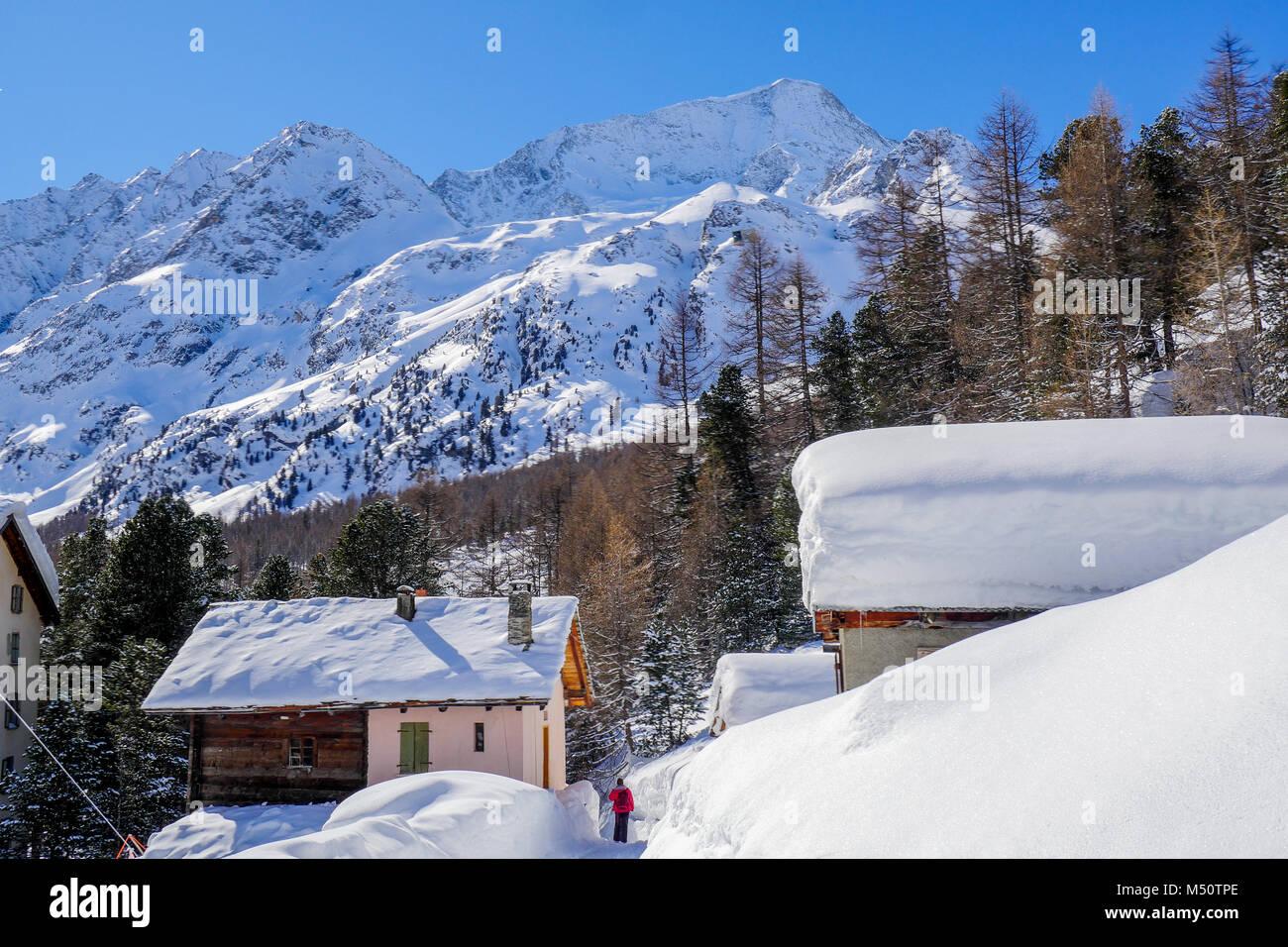 Arolla ski resort, Val d'Herens, Valais, Swiss - Stock Image