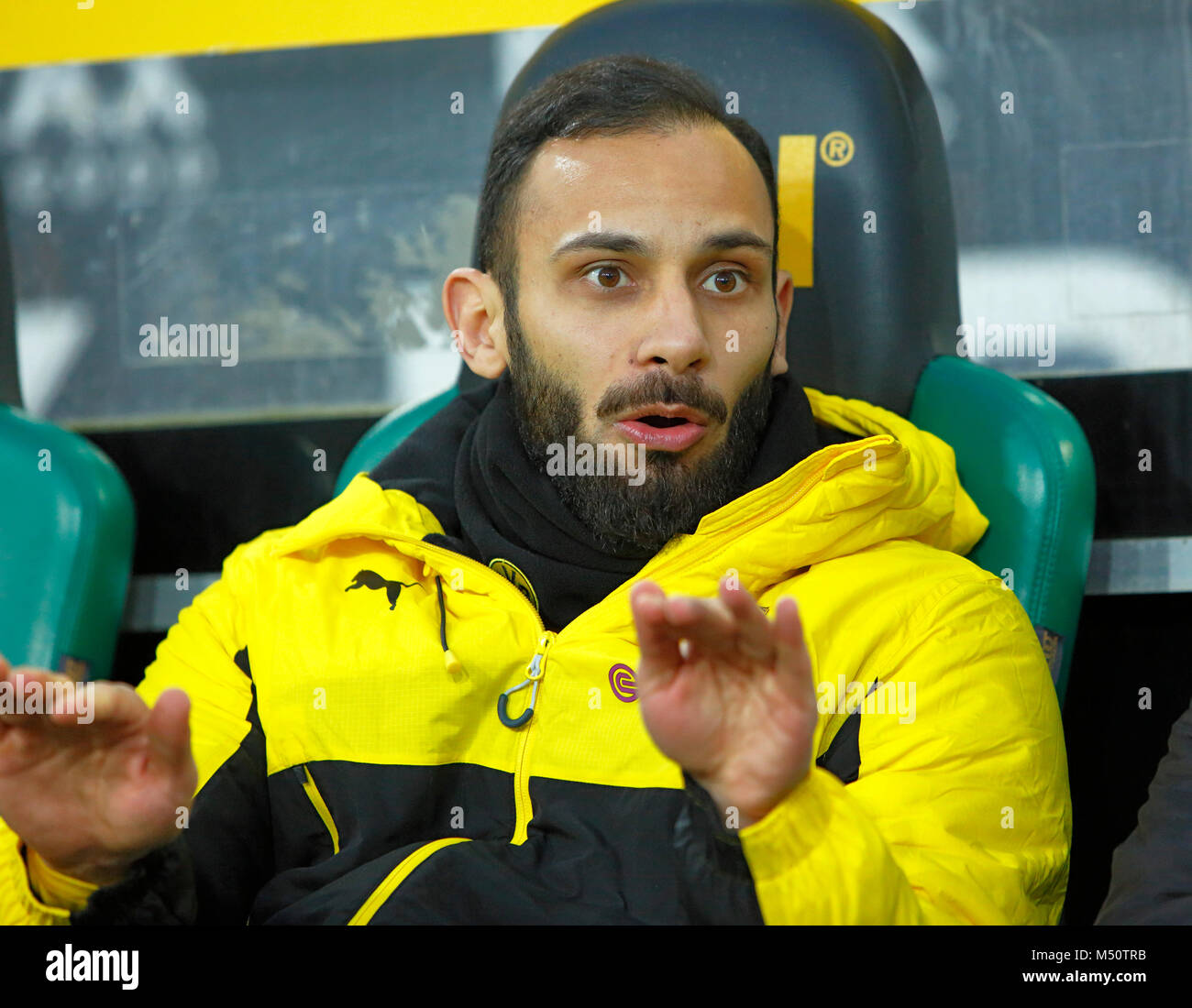 sports, football, Bundesliga, 2017/2018, Borussia Moenchengladbach vs BVB Borussia Dortmund 0:1, Stadium Borussia - Stock Image