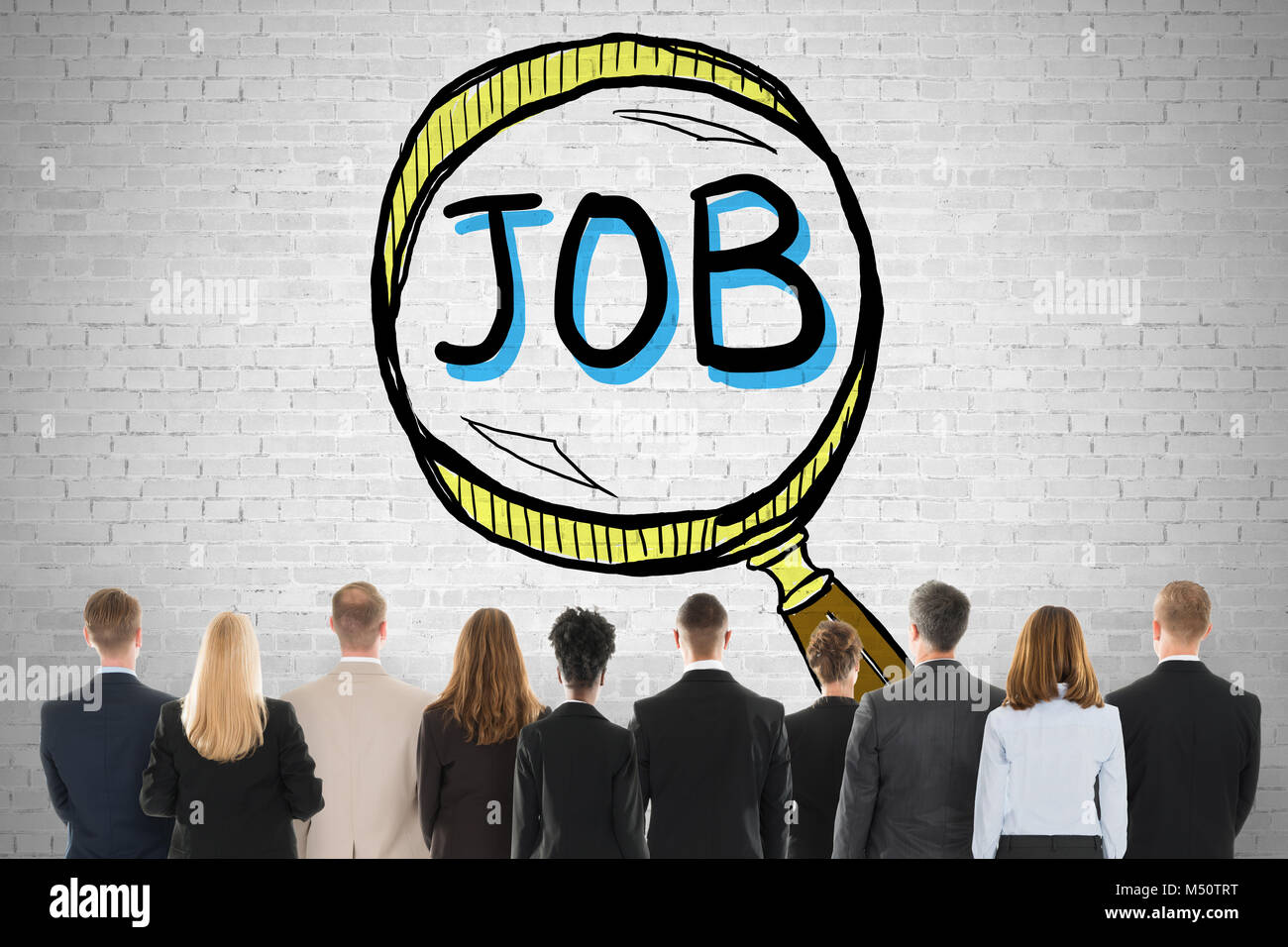 People Looking At Job Search And Hiring Concept On Wall - Stock Image