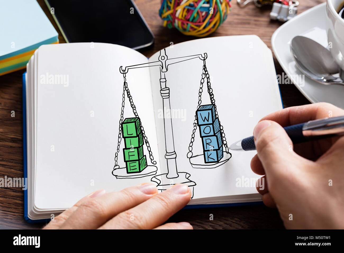 Man Drawing Work Life Balance Concept At Desk - Stock Image