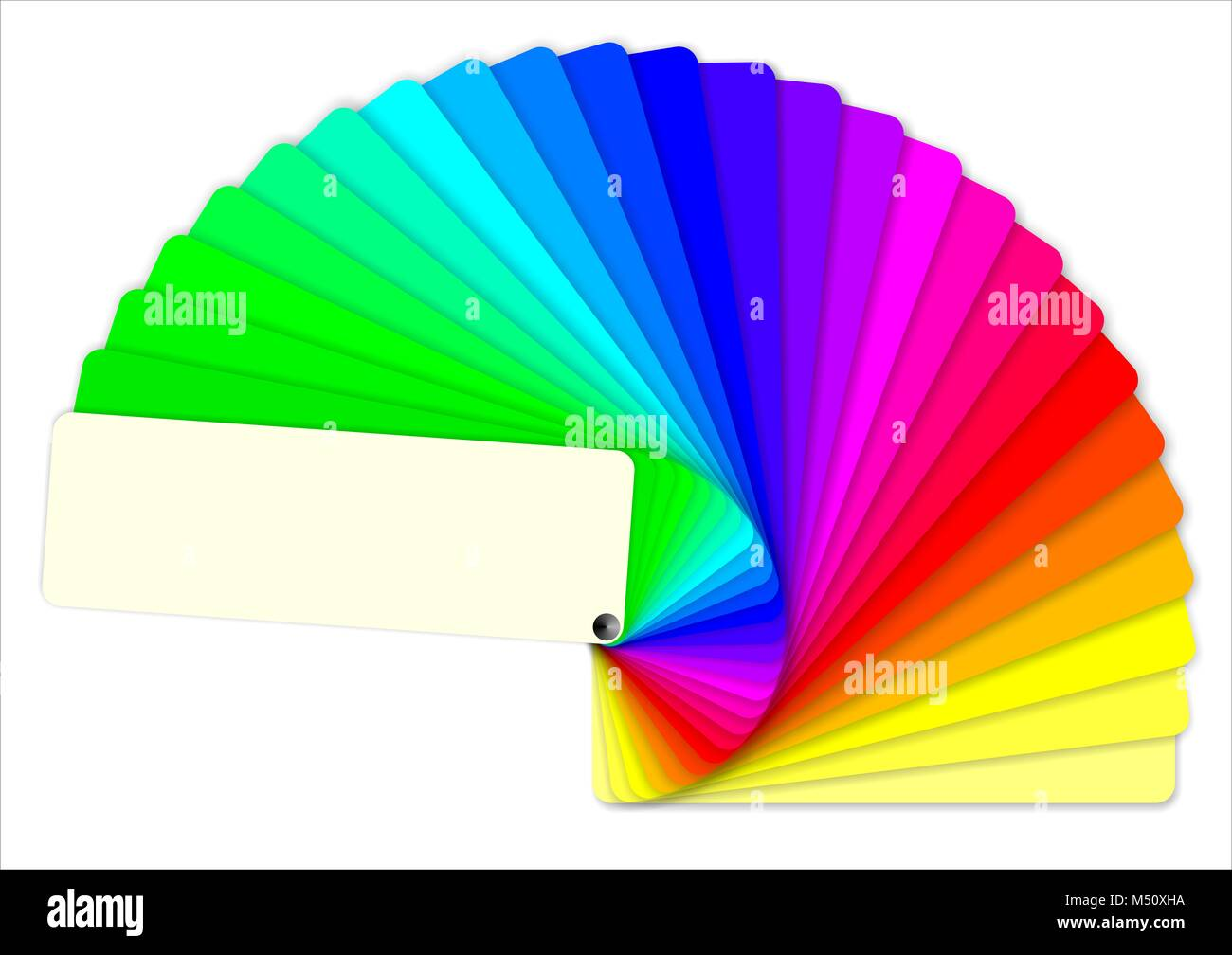 colored swatches book showing the rainbow colors. Fan color - Stock Image