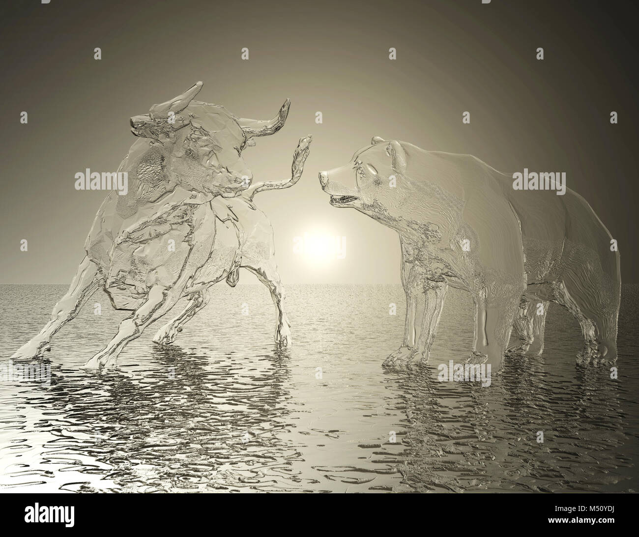 Digital 3D Illustration of a Bull and Bear Relief - Stock Image