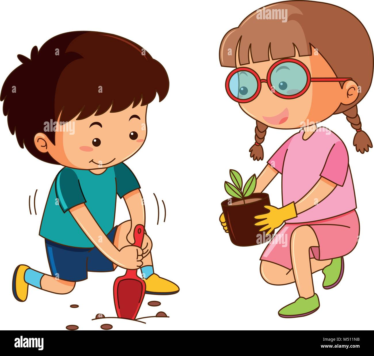 Boy and girl planting in garden illustration Stock Vector