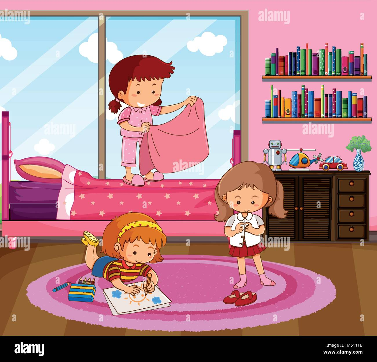 Three girls doing different things in bedroom illustration ...