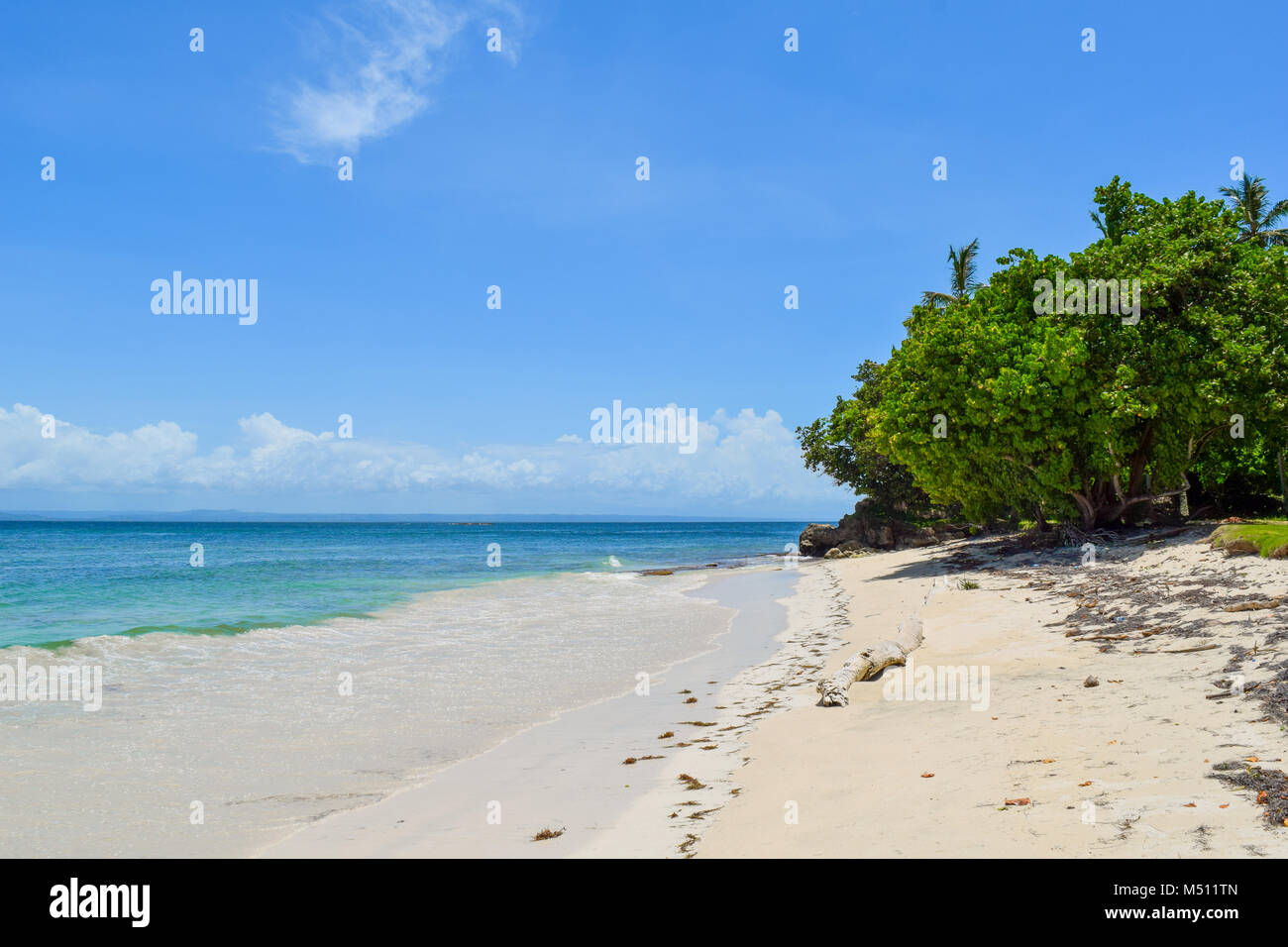 Beautiful beach with blue sky and turquoise water, Dominican Republic, caribbean sea - Stock Image