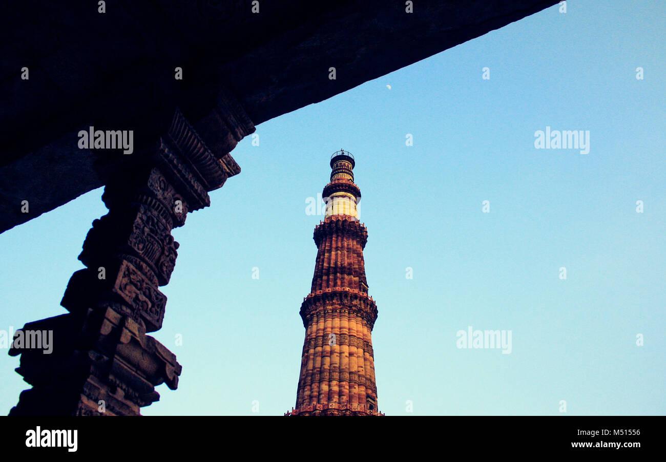 Architecture at Qutab Minar, New Delhi, India, one of the UNESCO World Heritage Site. - Stock Image