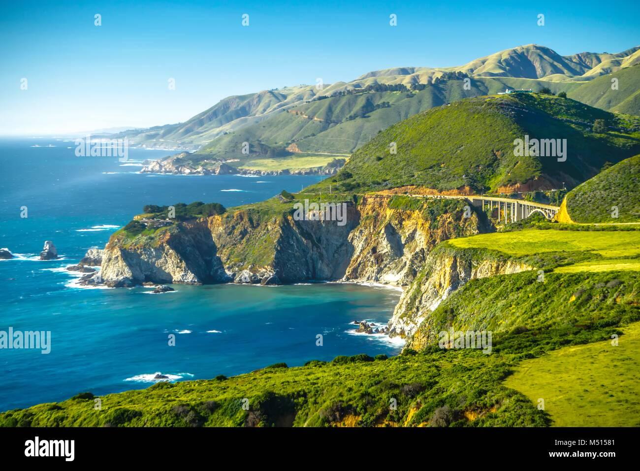 Big Sur california coastline on pacific ocean - Stock Image