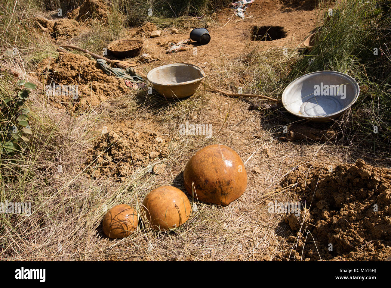 Tools for gold digging - Stock Image