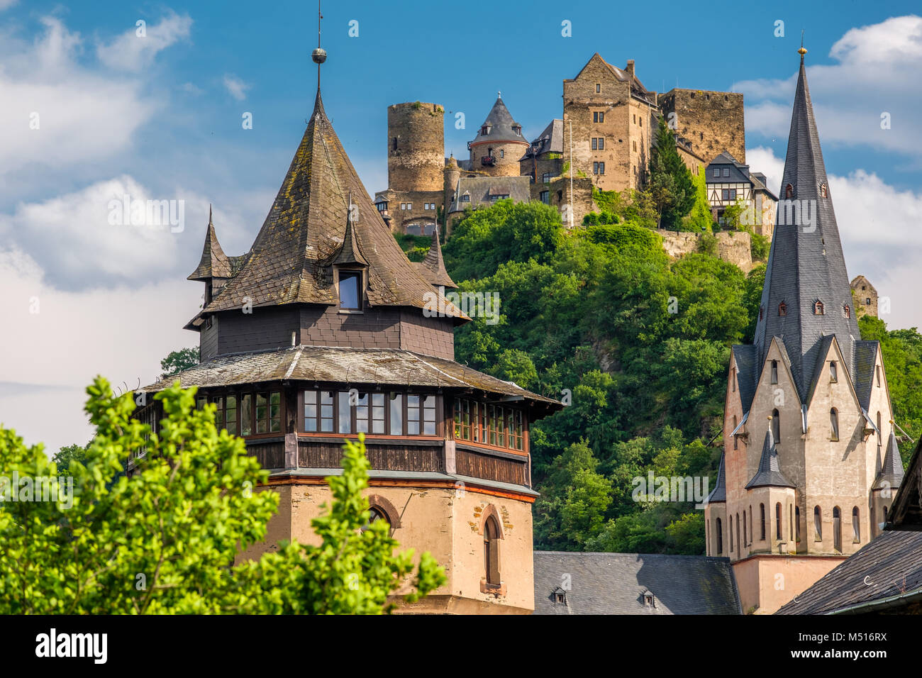 Schonburg Castle at Rhine Valley near Oberwesel, Germany. Stock Photo