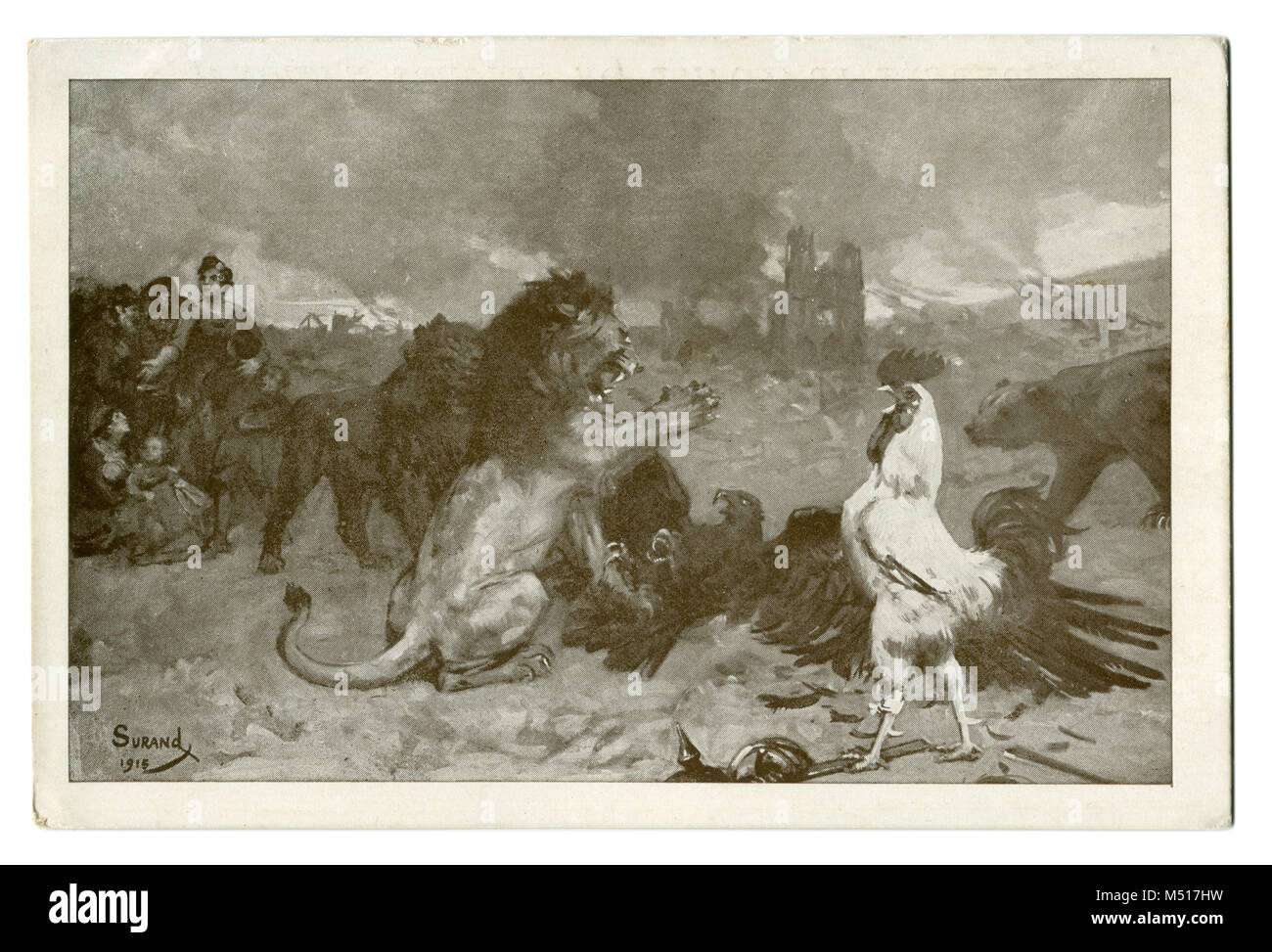 Old French postcard: Symbolism: The Union of the Entente: England (lion), France (rooster), Russia (bear) and Belgium - Stock Image