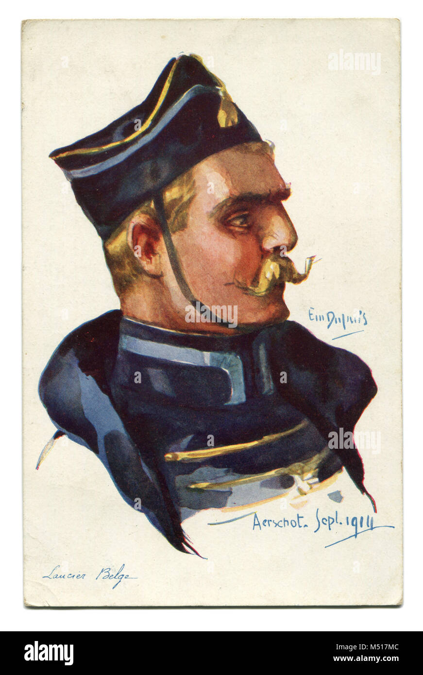 Old French postcard 'allies', a brave Belgian Ulan with a blonde mustache in traditional costume. The first - Stock Image