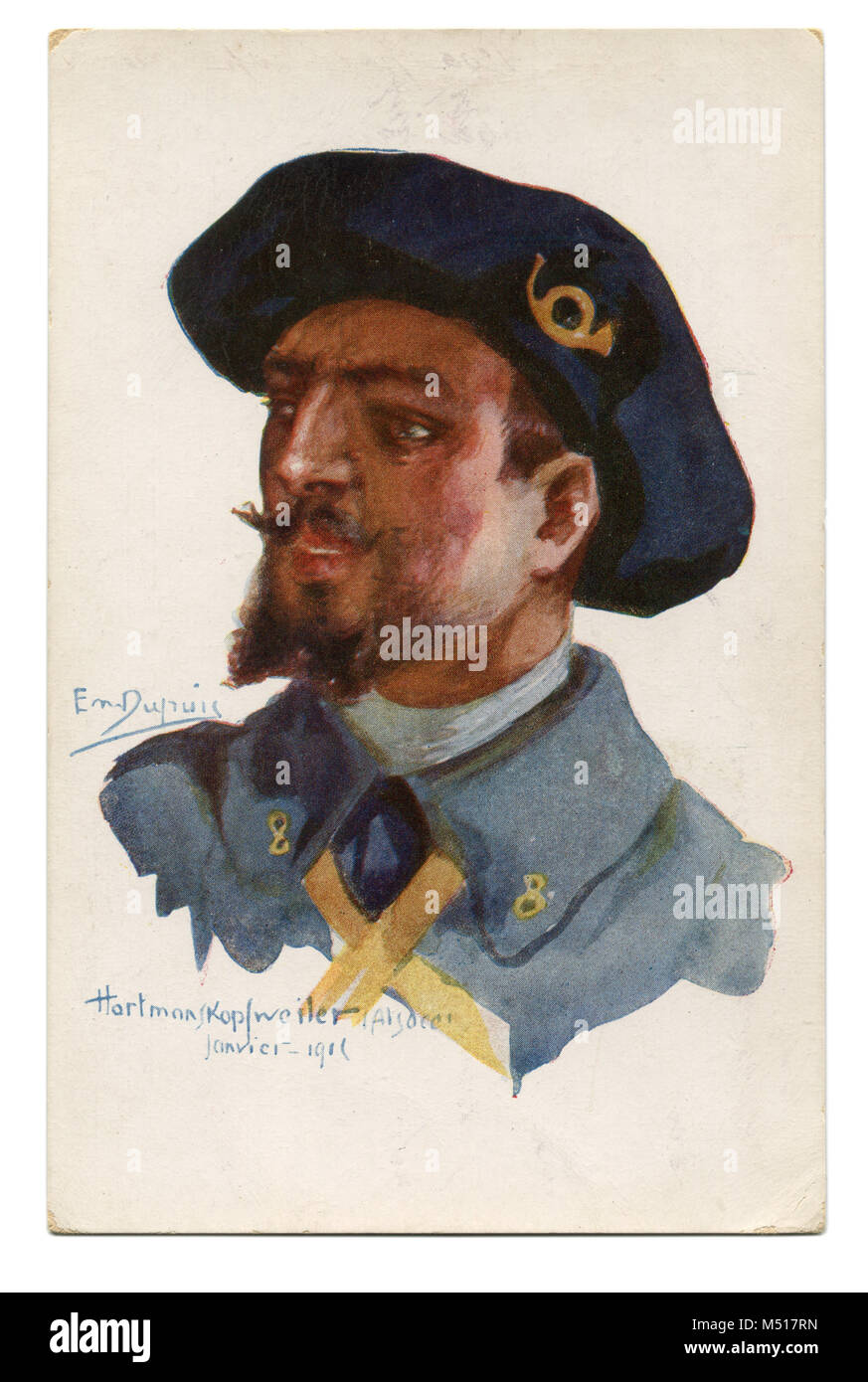 Old French postcard a brave  Alpine light infantryman in blue beret with a yellow bugle-horn badge. The first world - Stock Image